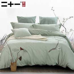 bedding suite Australia - Cotton Bed Four Paper Set Full Cotton Embroidery Bedding Wash Quilt With Wadding Cover Embroidered Suite Green Beans