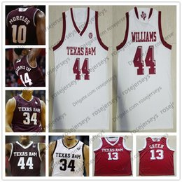 red basketball jerseys Australia - NCAA Texas A&M Aggies #44 Robert Williams 0 Jay Jay Chandler 13 Brandon Mahan 32 Josh Nebo white red College Basketball Jerseys S-4XL