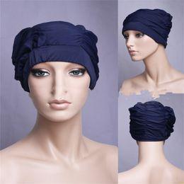 venda por atacado Tampão de banho plissado da dobra projetado para o cabelo longo Tampão da nadada das senhoras muitas cores Material de poliéster Mulheres Preto 4 5yfC1