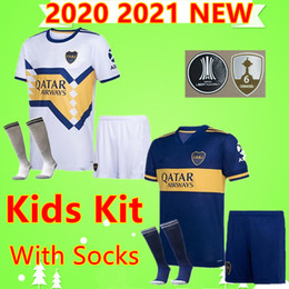 22 shirt Australia - Kids Kit with Socks 2020 Boca Juniors soccer jerseys 2020 2021 ZARATE ABILA football shirt boys set PAVON VILLA 20 21 children suit