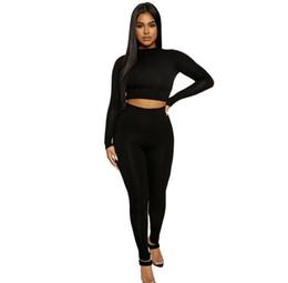 Wholesale women femme tracksuits resale online – Women Casual Tracksuit Matching Sets Two Piece Set Crop Top and Long Pants Sweat Suits Womens Bodycon Ensemble Femme Piece Set