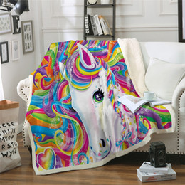 $enCountryForm.capitalKeyWord Australia - Art unicorn Throw colorful color cartoon Blanket 3D print Plush Bedspread Bed Blankets