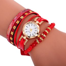 leather woven rope bracelet watch Australia - New 2019 fashion women ladies small dial colorful diamond crystal bracelet watches lady casual leisure dress weave rope watches