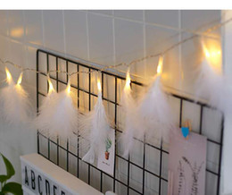 Feather Party Decorations Blue Australia - INS pink girl heart romantic feather string, creative bedroom decoration lamp charm, dormitory pendant led flashing lights, party ball decor