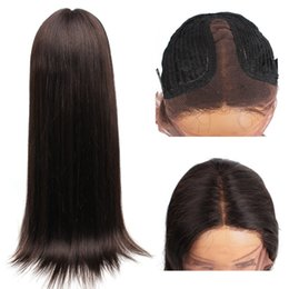 18 Inch Straight Lace Wig Australia - Kiss Hair Middle Part Pre-Plucked T Lace Front Wig Straight Virgin Human Hair Wigs 14-28 inch Full Lace Wigs African American Wigs