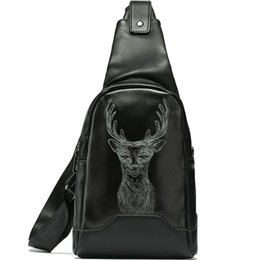 leather sling bag backpack UK - Reindeer day pack Deer photo chest bag Animal picture pu leather portable sling pouch Leisure bosom case Sport backpack Outdoor daypack