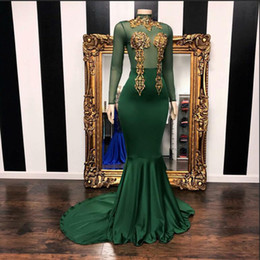 emerald green lace beaded dress UK - 2019 New Arrival Long Sleeve Prom Dress Stunning Gold Beaded Decoration Emerald Green African Black Girl Mermaid Graduation Dresses