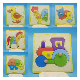 Giraffes Toys For Children Australia - 2019 New Carton Animal Wooden Puzzles Toy Games For Children Kids train Elephant giraffe