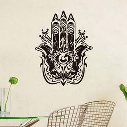 wall stickers yoga Australia - 1 Pcs Mandalas Fatima Hand Wall Stickers Home Decorations Vinyl Yoga Room Bedroom Decor Yoga Wall Decals Fish Hamsa Removable