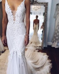 berta v neck wedding gown NZ - 2020 Berta pallas couture Mermaid Wedding Dresses Deep V Neck Sexy Back Unique Lace Sweep Train Summer Spring Bridal Gown Custom Made