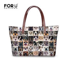Discount large handbags compartments - Ladies pet dog cat large hand bags brand design female tote bag animal 3D printing women shoulder bag casual student han