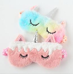 $enCountryForm.capitalKeyWord Australia - 300Pcs New Unicorn Eye Mask Cartoon Sleeping Mask Plush Eye Shade Cover Eyeshade Suitable For Travel Home Party Gifts