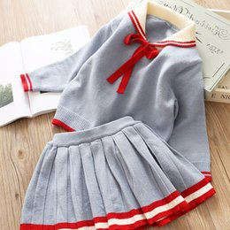 $enCountryForm.capitalKeyWord NZ - Preppy style kids knitted sweater princess outfits girls lace-up Bows tie lapel long sleeve pullover+stripe pleated skirt 2pcs sets F8824