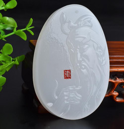 $enCountryForm.capitalKeyWord Australia - Natural Afghan White Jade Guan Gong Pendant Men's Guan Erye Lucky Fortune Brand