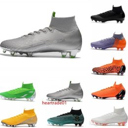 ronaldo shoes canvas NZ - boxMens with Mercurial Superfly VI 360 Elite Ronaldo FG CR soccer shoes chaussures football boots high ankle Soccer Cleats