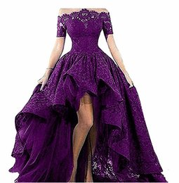 Custom Short Gown Canada - Fashion Black Lace Strapless Off The Shoulder Short Sleeves High Low Prom Dresses Evening Gowns Vestido Longo Formal Occasion