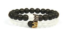 $enCountryForm.capitalKeyWord Australia - 2Pcs set Fashion Couple Bracelets Men And Women Wholesale 8mm Lave Stone Glass Beads And Man-made Beads Crown Bracelet For Love