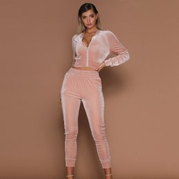 $enCountryForm.capitalKeyWord UK - Autumn new Women 2pcs Short Zipper Hoodies Sweatshirt Elasic Waist Pants Sets Velvet womens Tracksuit Casual Suit