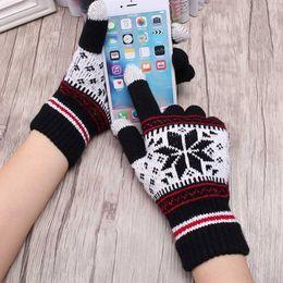 Mittens Knitted Pattern Australia - Unisex Wool Gloves Wrist Winter Warm Knitted Snowflake Pattern Full Finger Driving Gloves Wrist Mittens Print Snow Drive Glove