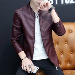 Korean leather jacKet brands online shopping - Autumn New Pu Leather Jackets Men Brand Korean Slim Fit Long Sleeve Mens Casual Bomber Jacket Stand Collar Windbreaker Coat Male