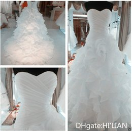 Size 18w Wedding Gown Australia - New White Ivory Black Organza Wedding Dress Bridal Gown Lace Up Back Ruffles Formal Wedding Occasion Party Custom Plus Size