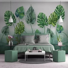 paper house small Australia - Arkadi 3d Nordic minimalist small fresh green leaves living room TV background wallpaper non-woven wallpaper large mural