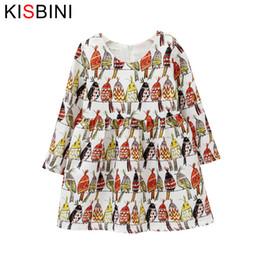 33efa4363 good quality 2019 New Autumn Girls Gress Long Sleeves Children Bird Print Dress  Kid Ball Gown Graffiti Dress 4 6 8 Years Girl Clothes