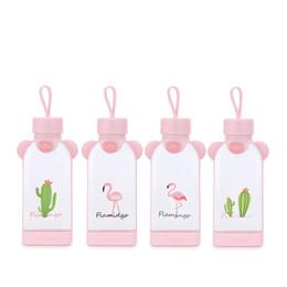 $enCountryForm.capitalKeyWord NZ - Flamingo Square Cup Pink Girl Glass Water Bottle Originality Seal Up Tumbler Gift Leak Prevention Love Cute 7 3btb1E1