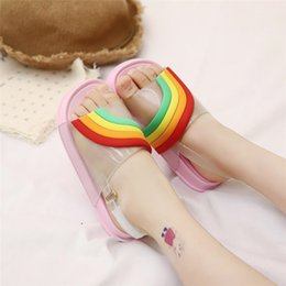 Kids Shoes Sandals Slippers Australia - INS Summer Kids Rainbow Sandals Girls Leakage Toe Candy Color Sandals With Buckle Strap Soft PU Sole Beach Slippers Bath Water Shoes A51302