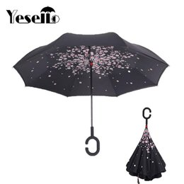 $enCountryForm.capitalKeyWord Australia - Yesello Cherry Blossom Tree Double Layer UV Proof Windproof Inverted Rolling Over Umbrella With C-Shaped Handle for Car Outdoor