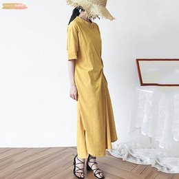 Wholesale new korean clothes for women for sale – plus size For Dress Women O Neck Korean Half Sleeve Loose Oversize Irregular Hem Long Dresses Female Fashion Casual Designer Clothes New