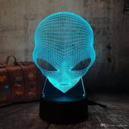 alien lamps UK - 3D Emoji Alien Lamp Table Desk Night Light 7 Color Change USB LED Home Decoration Wireless Flashlight Atmosphere Bulb Creative
