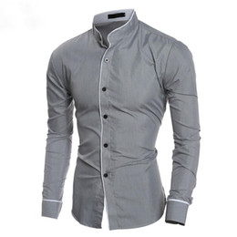 Korean style shirt male online shopping - Autumn New Male Shirts Stand Collar Solid Color Man Tops Long Sleeve Korean Style Slim Shirt Office Casual Wear Hot Sale