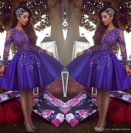 $enCountryForm.capitalKeyWord Australia - Sexy Elegant Arabic Illusion Satin A Line Cocktail Dresses New Long Sleeves Tulle Lace Applique Beaded Top Knee Length Party Short Custom