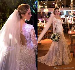 $enCountryForm.capitalKeyWord Australia - Cheap Vintage Mermaid Wedding Dress New Designer Backless Sequins Illusion Bodice Full Lace Button Long Sleeves Pleats Wedding Bridal Gowns