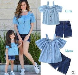 b2d5b914648 Mother and Daughter Matching Clothes Outfits 2019 Summer Off Shoulder Denim  Blouse Tops Jeans Shorts Mother Daughter Clothes Family Clothing