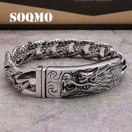 $enCountryForm.capitalKeyWord NZ - SOQMO Genuine 925 Sterling Silver Dragon Curb Chain Men Bracelet Vintage Punk Thai Sliver Handcrafted Bracelets For Men Jewelry