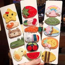 strawberries hair accessories UK - Fashion Children Kids Cartoon Hair Accessories Crocodile Animal Hairpins Watermelon Strawberry Felt Fruit Hair Clips Barrettes