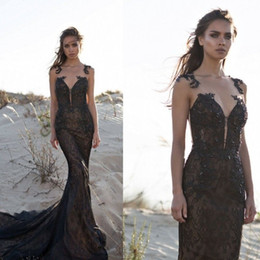 $enCountryForm.capitalKeyWord Australia - 2019 New Sexy Custom Made Black Court Train Sleeveless Black Wedding Dress Beading Crystal Beading Mermaid Train Bridal Formal Dress