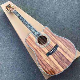 Großhandel Fester Koa Holz-Leben-Baum Inlay Cutaway Abalone Binding Klassische Akustikgitarre mit Tonabnehmer und Logo auf Kopfplatte freies Verschiffen