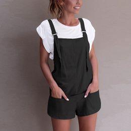 98cbdfbaea7a Fashion Dungarees Linen Cotton Overalls for Women Short Bodysuit Rompers  Jumpsuits Female Body Streetwear Combinaison Femme c
