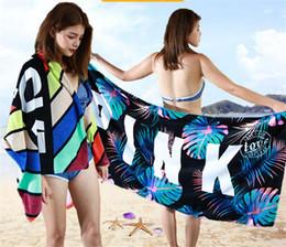 12 Towel Australia - 12 colors 70 * 147cm pink letters printed beach towel towel bath shower couple gift dc148