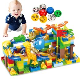 $enCountryForm.capitalKeyWord Australia - 168pcs Marble Race Run Maze Ball Slide Track City Building Blocks Plastic Kids Educational Assemble Toys For Children Gifts MX190730