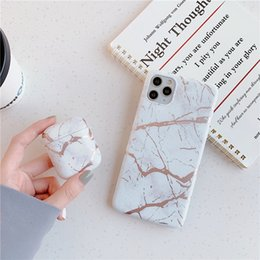 Black White Pink Marble Mobile Phone Case Cover for iphone 11 pro max 7 8 plus x xr with Matching for Airpods 1 2 Charging Case