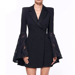 Women Fashion Lace Australia - 2019 Spring Fashion Lace Coat For Women Hollow Out Flare Sleeve Tunic Plus Size Blazer Solid V Neck Double Breadsted Suit