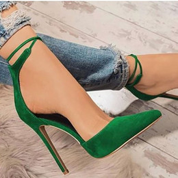 Woman Shoes Low Heels NZ - High Heels Shoes Women Sexy Ankle Strap Stiletto Sandals Fashion Pointed Toe Party Pumps Ladies Big Size Zapatos De Mujer