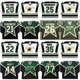 Mens Vintage Jerseys Australia - Dallas Stars Mens 20 ED BELFOUR 1990's 21 GUY CARBONNEAU 22 BRETT HULL 25 JOE NIEUWENDYK 35 ANDY MOOG Vintage Hockey Jerseys