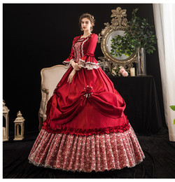 Renaissance faiRy costumes online shopping - 100 real luxury wine red lace rococo princess queen fairy cosplay ball gown royal princess Medieval Renaissance Victoria dress Belle ball