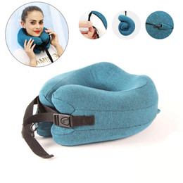 travel pillow memory foam Australia - Adjustable U Shape Memory Foam Travel Neck Pillow Foldable Head Neck Chin Support Cushion for Sleeping on Airplane Car Office SH190925