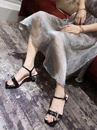 Black Blocks Australia - New Summer Chunky 2.5cm Heel Sandals Square Toe Block Heeled Patent Leather white Black Fashion Design Women Fashion Runway 35-40 Free ship